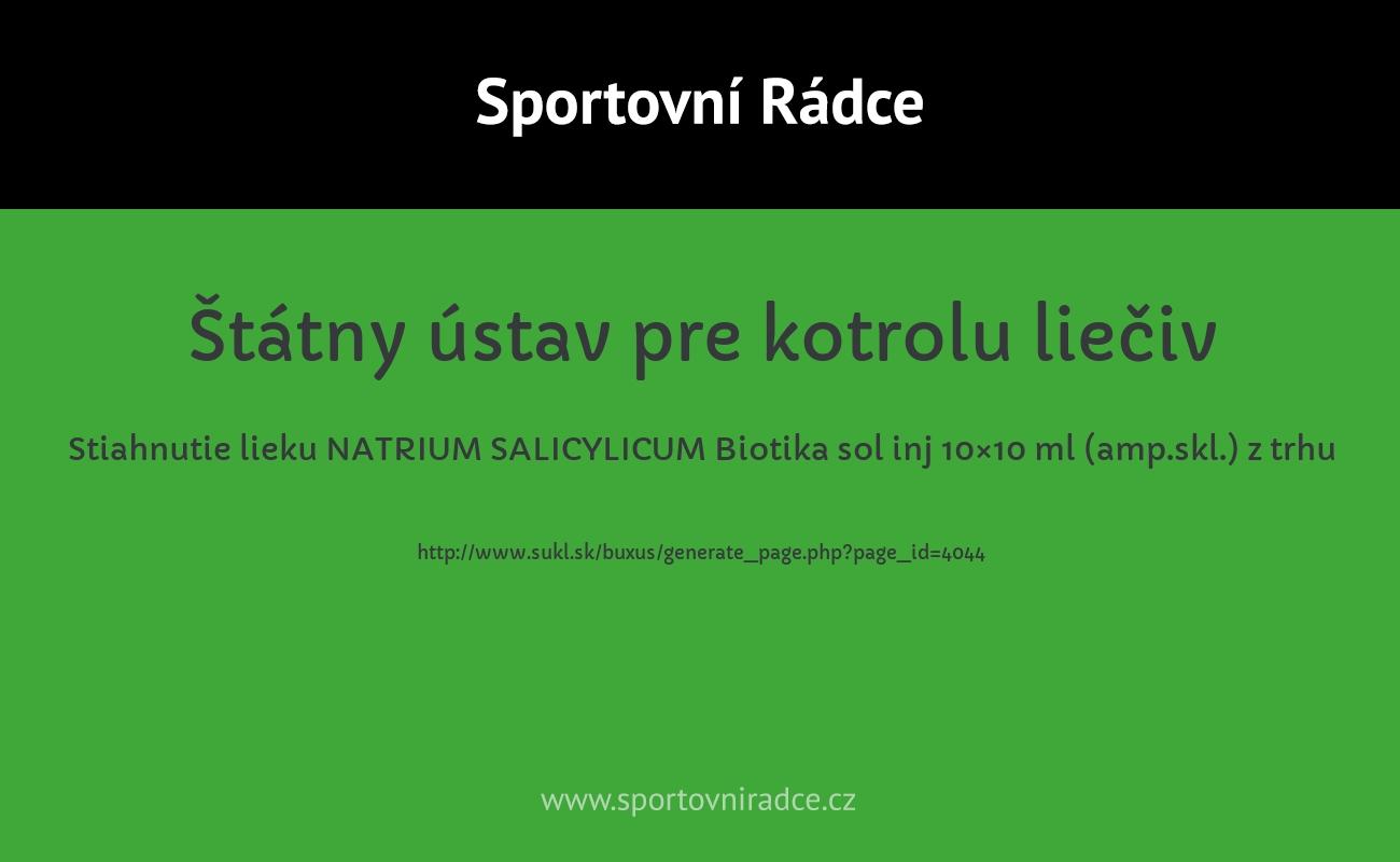 Stiahnutie lieku NATRIUM SALICYLICUM Biotika sol inj 10×10 ml (amp.skl.) z trhu